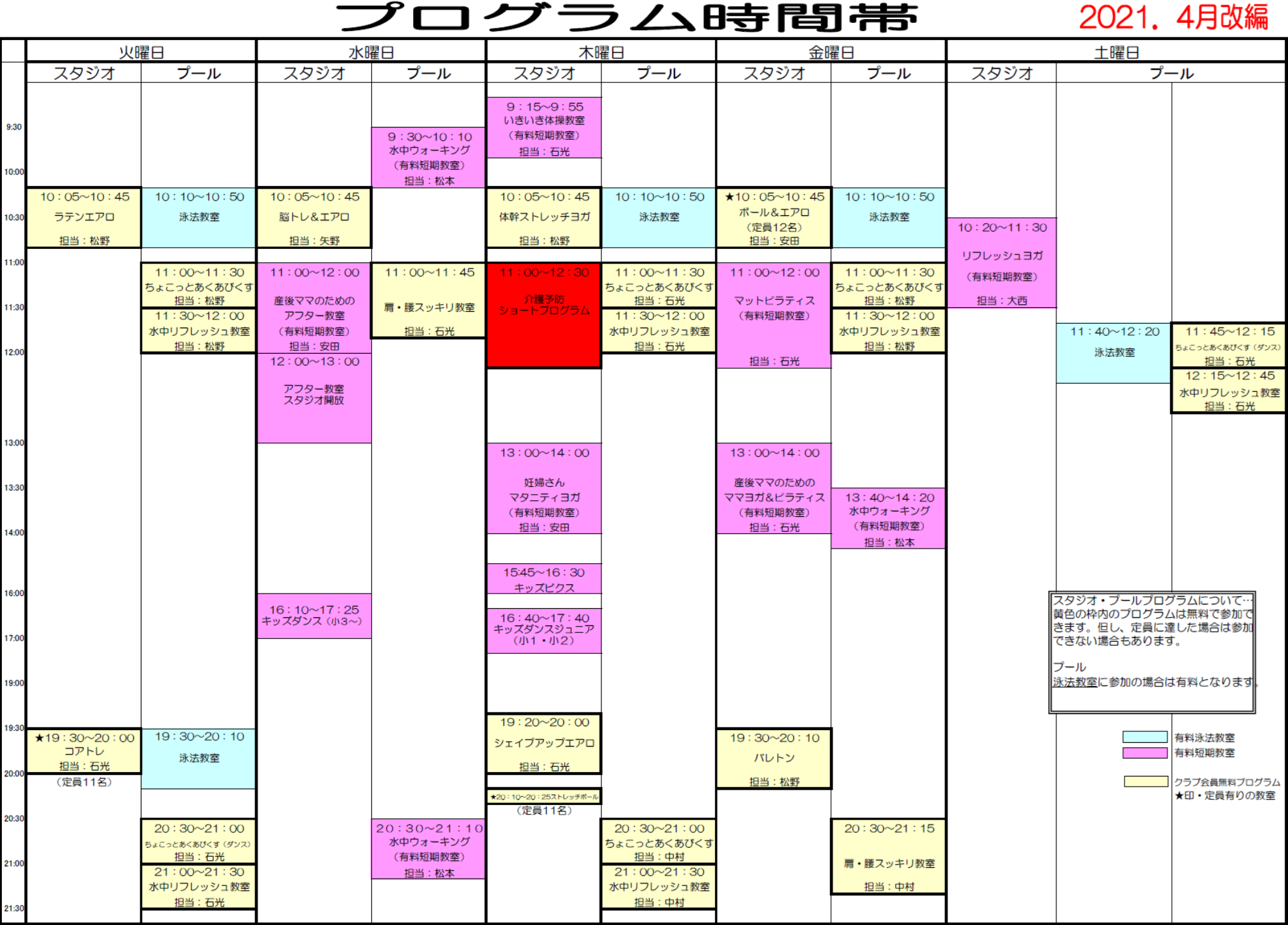 プログラム時間帯